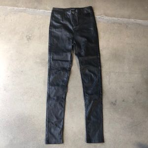 High Waisted Faux Leather Black Skinny Jeans
